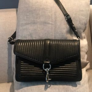 REBECCA MINKOFF Quilted Hudson Moto Crossbody Bag.